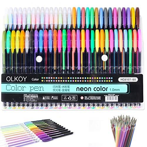 Olkoy Set di 60 Penne Colorate Gel - 15 Fluo + 15 Penne ad Acqua + 15 Neon + 15 Metallizzate, Miglior Set di Penne Gel per Libri da Colorare per Adulti, Disegnare e Scrivere, con Punta da 1,0 mm