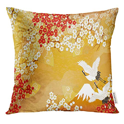 VANMI Throw Pillow Cover Japanese Beautiful Kimono of Illustrations Japan Asia Crane Decorative Pillow Case Home Decor Square 18x18 Inches Pillowcase