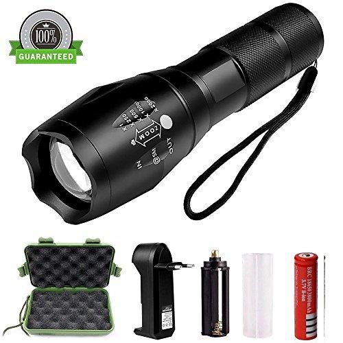 buenos comparativa Best007 Linterna LED Linterna USB Táctica Recargable Potente Linterna Militar, 5 Modos, Alta … y opiniones de 2021