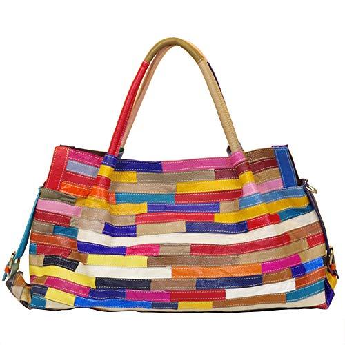 Segater® Damen Multicolor Einkaufstasche Echtes Leder Handtasche Bunte Patchwork Große Umhängetasche Shopper Taschen Großer Crossbody Hobo Handtasche