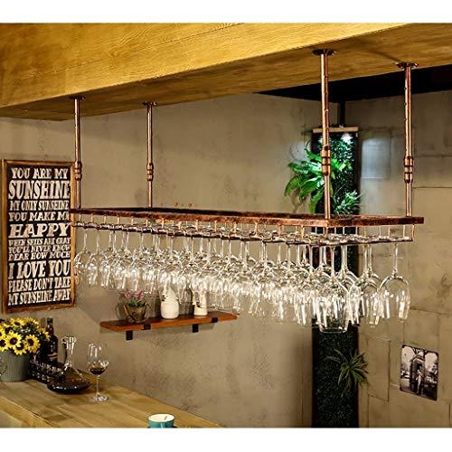 GJBJ-Wine Racks Cubilete Portavasos Suspensión Copa de Vino Estante Estante Colgante de Hierro Titular de Rack Techo Decoración Bar (Color : Marrón, tamaño : 90 * 35cm)