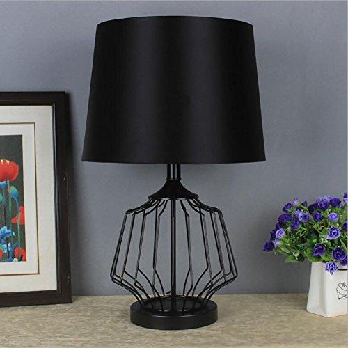 Tafellamp materiaal ijzer bureaulamp 220 V E27 modern zwart metalen mand kooi stijl tafellamp met zwarte stof