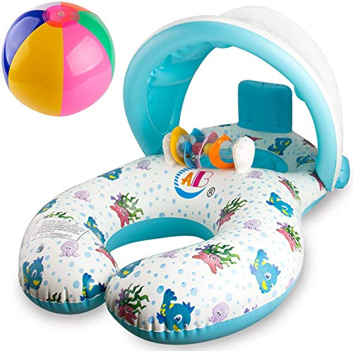 R HORSE Baby Pool Float Baby Swim Float Pool Toy with Mommy Swim Ring Removable Canopy for 8-36 Months Old Baby with Beach Ball