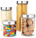 EatNeat 4-Piece Beautiful Glass Kitchen Canister Set with Stainless Steel Lids, Round Dry Food Storage...