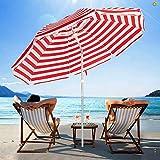 SERWALL 6.5FT Beach Umbrella UV 50+ Outdoor Portable Sunshade Umbrella with Sand Anchor, Push Button Tilt and Carry Bag for Patio Outdoor Garden Beach (Red-White Stripe)