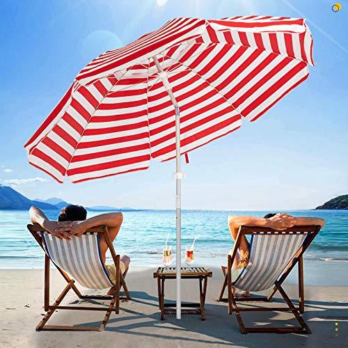 SERWALL 6.5FT Beach Umbrella UV 50+ Outdoor Portable Sunshade Umbrella with...