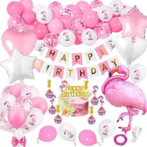 specool Flamingo Geburtstags Dekorationen, Hawaii Party liefert mit Flamingo Banner, Flamingo Luftballons, Konfetti Luftballons, DIY Cake Topper für Mädchen Geburtstag Hochzeit Babyparty Tropische