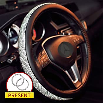 Sino Banyan Girly Diamond Bling Steering Wheel Cover with a Bling Ring, No hands Scraping,15 Inch Black & Silver
