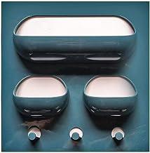Parshall Sterke niet-markerende pasta opbergrek keuken badkamer opbergrek wandplank, donkerblauw + wit 3 gat, 22 cm, mater...