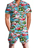 Flamingo Outfits for Men Stylish Zipper Short Elastic Waistband Romper Holiday Retro Blue Water Lily Tracksuits Man Tropical Hawaiian Beach Short Sleeve Linen Jumpsuits, Green and Pink Weeds XXL