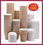 HOT BARGAINS 100 X Kraft triple walled disposable paper ripple cups + LIDS FOR FREE, 8oz, 10oz, 12oz, 16oz (8OZ)