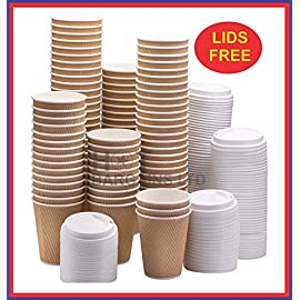 50 X 12oz / 360ml Kraft Triple Walled Disposable Paper Ripple Cups Disposable Coffee Tea Cups Disposable Hot Drink Cups…