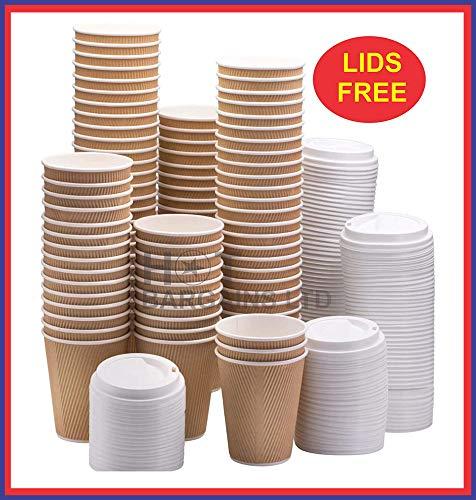 HOT BARGAINS 100 X Kraft triple walled disposable paper ripple cups + LIDS FOR FREE 8oz, 10oz, 12oz, 16oz (12OZ)