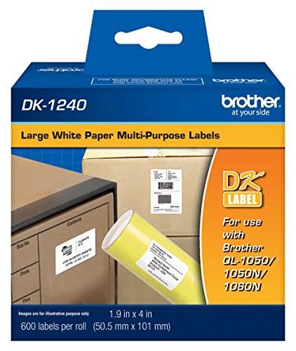 "Brother Genuine DK-1240 Die-Cut Large Multi-Purpose White Paper Labels for Brother QL Label Printers, 1.9"" x 4"" (50.5mm x 101mm), 600 Labels per Roll, DK1240"