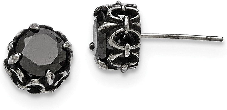 Beautiful Stainless Steel Black CZ Antiqued Post Earrings