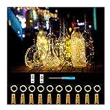 Forthcan Luces para botella de vino con corcho, funciona con batería, alambre de cobre, cadena de luces para jardín, patio, decoración de camino, al aire última intervensión, bricolaje, fiesta,...