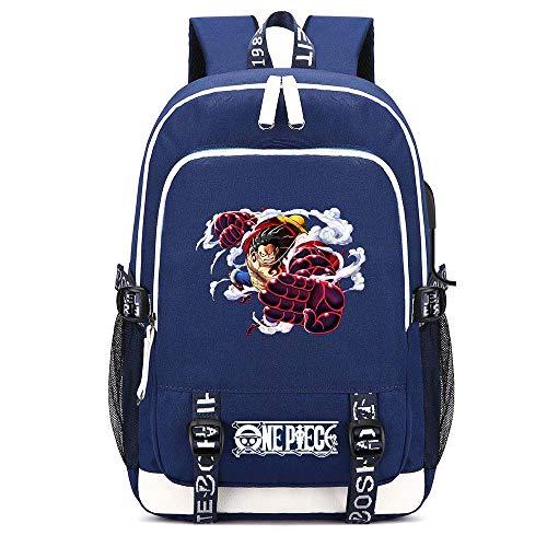 XYUANG One Piece Monkey·D·Luffy/Portgas·D· Ace/Roronoa Zoro Two-Way Zipper USB Blue Mochila para Hombres Backpack Escolares de Dibujos Animados Libro Laptop Regalo de Viaje-C