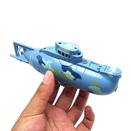 E-MART Mini RC Submarino Radio Control Remoto Barco Barco Juguete electrónico Buceo a Prueba de Agua en Agua Regalo para niños (Azul)