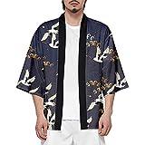 ROBO Hombres Camisa Kimono Camisa de Algod/ón de Primavera Estilo Japon/és para Hombres