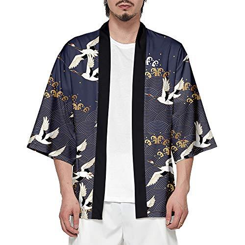 CIZEUR Hombre Hippie Camisa Kimono Japonés Estampado Holgado Manga 3/4,XL Muchas grullas inmortales
