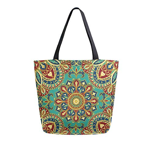 iRoad Women Canvas Bags Indian Tribal Floral Mandala Shopping Purse Handbag Reusable Grocery Bags Large Canvas Bag Tote for Travel School Work