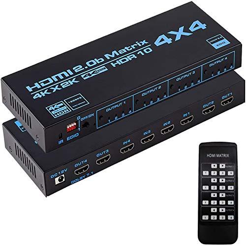 Matriz de conmutación 4x4 HDMI 4K @ 60Hz HDR4: 4: 4 | Matriz de conmutación HDMI de 4 entradas y 4 Salidas con conmutador EDID y Mando a Distancia por Infrarrojos