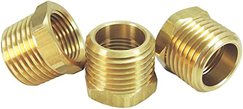 "Nigo Brass Pipe Fitting, Hex Bushing, Nominal Pipe Size: 1/2"" NPT Male x 3/8"" NPT Female (Pack of 3)"