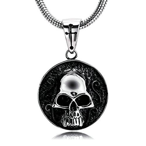 Anyeda Anhänger Halskette Hoch Polnisch Silber Schwarz Schädel Anhänger Halskette Anhänger Männer Disc Skull Men Necklace