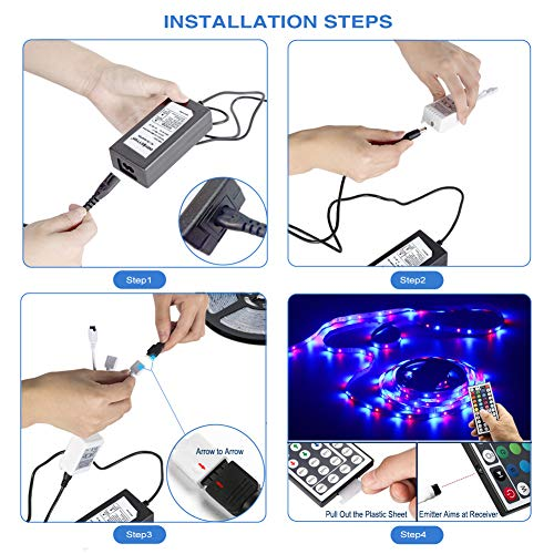 Daybetter SMD 3528 Led Strip Lights with 44 Key Remote( 2 Rolls of 16.4ft ) 8