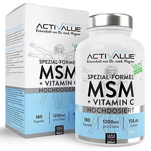 AKTIONSPREIS: MSM Spezial-Formel von Dr.med. Wagner - Hochdosiert 1200mg - verstärkt durch NATÜRLICHES Vitamin C - 100{01907b5348e5cc3d158d6b4aed8459582113911442c69cbb35de453b624d4a21} vegan