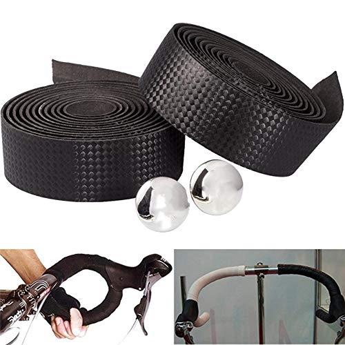 1 Paar Lenkerband Rennrad Carbon-Faser-Fahrrad-Lenker Strap Anti Skid Sponge Gürtel Fahrrad Grip Tape Rennrad Bar-Bänder mit Bar Plugs (schwarz)