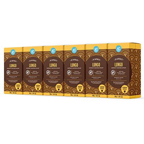 Happy Belly - Lungo Café Torréfié et Moulu dans des Capsules (en aluminium) Compatibles Nespresso - 120 Capsules (6 Paquets x 20) - Rainforest Alliance