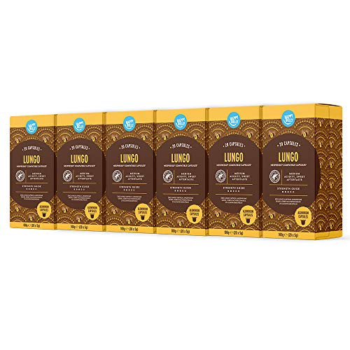 Marca Amazon - Happy Belly Lungo Café molido de tueste natural en cápsulas de aluminio compatibles con Nespresso, 120 cápsulas (6x20) - Rainforest Alliance
