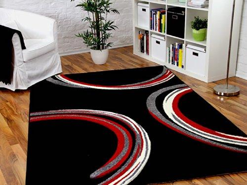 Designer Teppich Maui Schwarz Rot Circle STARK REDUZIERT - SOFORT LIEFERBAR