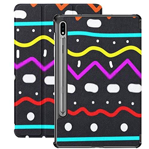 Funda Galaxy Tablet S7 Plus de 12,4 Pulgadas 2020 con Soporte para bolígrafo S, garabatos Decorativos Patrón de Lana Tejida sin Costuras Funda Protectora con Soporte Delgado para Samsung