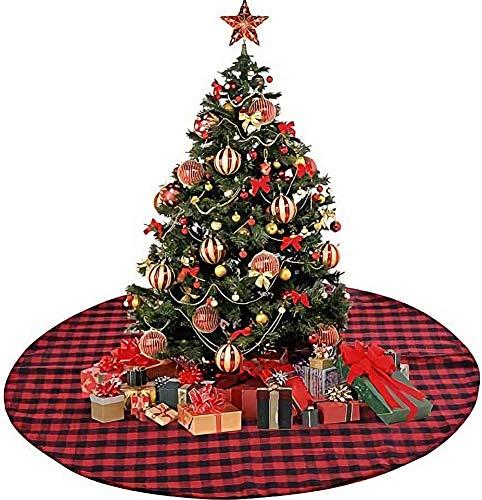 Weihnachtsbaumdecke, Groß Weihnachtsbaumrock Weihnachtsdekoration Weihnachten Baumrock Stoff Rot Kariert Christbaumständer Teppich für Weihnachten Jahr Dekoration (48zoll/122cm)