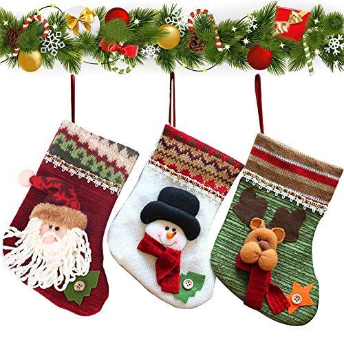 KINDPMA 3pcs Weihnachtsstrumpf Set Weihnachtsstrumpf Nikolausstiefel zum Befüllen Nikolausstrumpf Deko Kamin Geschenkbeutel Weihnachtsdeko für Weihnachtsbaum Wand Treppe Zuhause