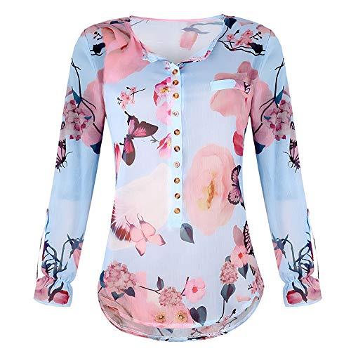 TWIFER Sommer Chiffon Damenmode V-Ausschnitt Print Langarm Lose Tops T-Shirt Bluse Mode Damen Tshirt Lange ärmel Shirt