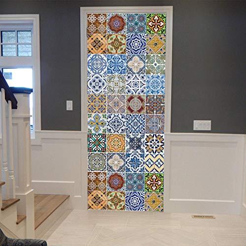 EQNLJA Adhesivo Puerta 3D Etiqueta Autoadhesivo Vinilos Murales Carteles Pegatinas de Pared Decoraciones Puerta Sala Baño Estar Dormitorio Cocina Fotomurales 77x200cm Patrón de Mosaico de imitación