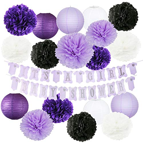 Purple Baby Shower Decorations It's A Girl Purple Silver Baby Shower Banner Purple White Black Lavender Girl Elephant Baby Shower Decor