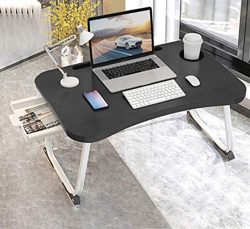 MGsten Mesa de Cama para Ordenador portátil Plegable con Soporte para Bebidas, Bandeja portátil con cajón, Escritorio ergonómico para portátil en la Cama, sofá, Oficina(60x40x28cm)