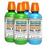 TheraBreath Fresh Breath Oral Rinse, Mild Mint, 16 Ounce Bottle (Pack of 2) and Fresh Breath Oral Rinse, ICY Mint, 16 Ounce Bottle (Pack of 2)