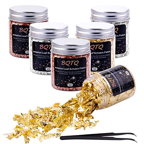 BQTQ 6 Flaschen Blattgold Flocken Imitation Gold Flocken, Goldfolie Vergold Flocken Gold Flakes Blatt Flocken für DIY Kunsthandwerk Nagelkunst Harzschmuck, Gold Silber, Kupfer