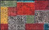 Wash&Dry Vintage Patches Felpudo, acrílico, carbón, 120 x 75 x 0.7 cm
