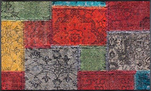 wash+dry Fußmatte, Vintage Patches 75x120 cm, innen und außen, waschbar, Bunt