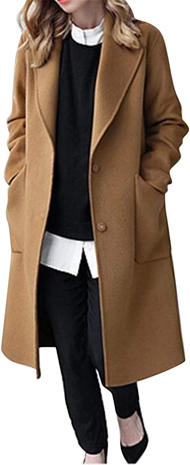 Fensajomon Women's Solid color Plus Size Loose Fit Longline Wool Blend Trench Coat Pea Coat Cardigan Overcoat