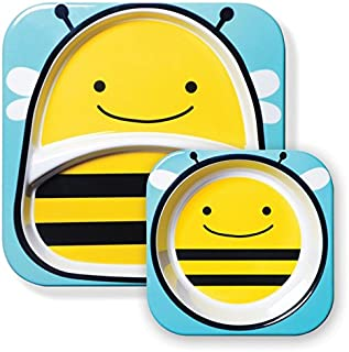 Skip Hop Zoo Melamine Plate and Bowl Set, Bee