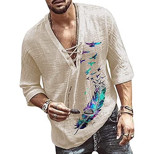 Herren Baumwolle Leinenhemd Langarm Regular Fit Freizeithemd Shirts Sommerhemd Men's Shirt Tee V-Ausschnitt Einfarbig T-Shirt für Männer