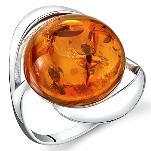 Peora Genuine Peora Baltic Amber Large Round Swirl Ring for Women in Sterling Silver, Rich Cognac Color, Comfort Fit, Size 7