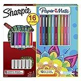 Sharpie pennarelli indelebili e Paper Mate Flair kit penne punta in feltro, colori assortiti, 16 pezzi